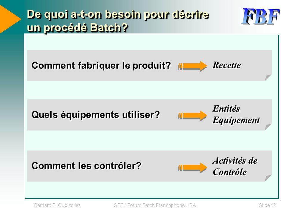 Bernard E. CubizollesSEE / Forum Batch Francophone - ISASlide 12 De quoi a-t-on besoin pour décrire un procédé Batch? Quels équipements utiliser? Comm
