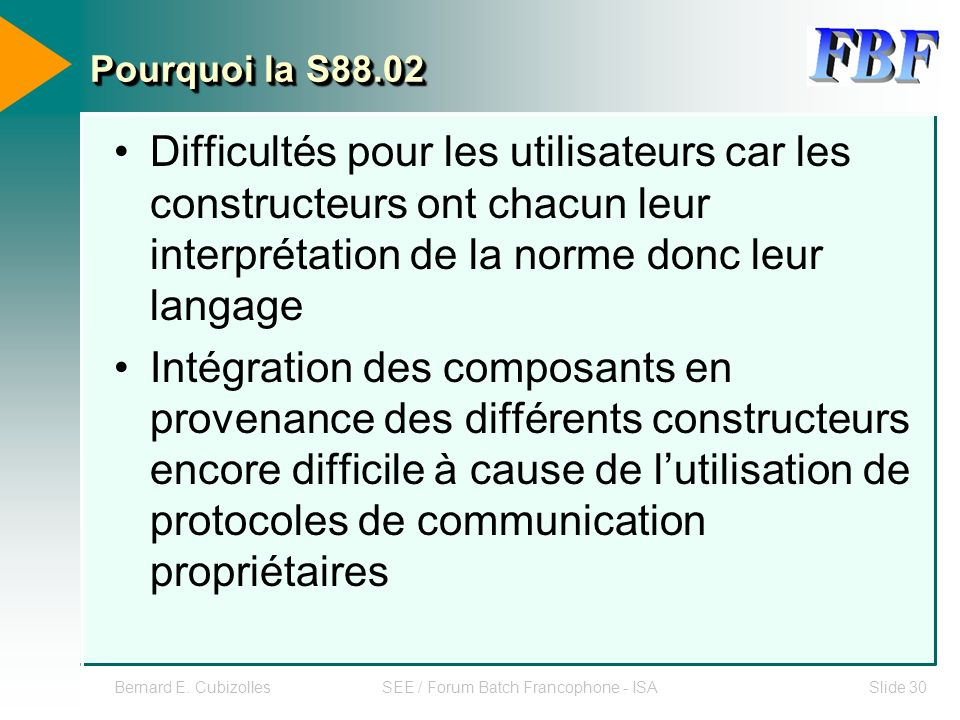 Bernard E. CubizollesSEE / Forum Batch Francophone - ISASlide 30 Pourquoi la S88.02 Difficultés pour les utilisateurs car les constructeurs ont chacun