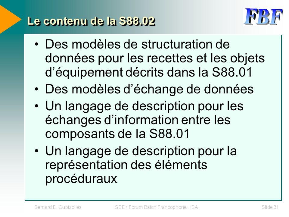 Bernard E. CubizollesSEE / Forum Batch Francophone - ISASlide 31 Le contenu de la S88.02 Des modèles de structuration de données pour les recettes et