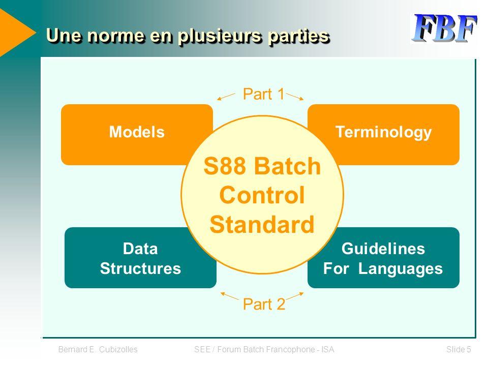 Bernard E. CubizollesSEE / Forum Batch Francophone - ISASlide 5 Une norme en plusieurs parties S88 Batch Control Standard TerminologyModels Guidelines