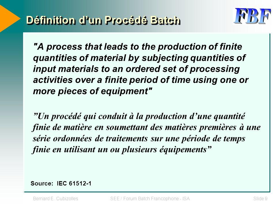 Bernard E. CubizollesSEE / Forum Batch Francophone - ISASlide 9 Définition dun Procédé Batch