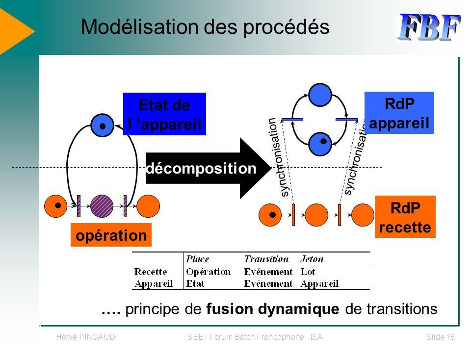 Hervé PINGAUDSEE / Forum Batch Francophone - ISASlide 16 opération synchronisation décomposition RdP appareil RdP recette Etat de l appareil ….