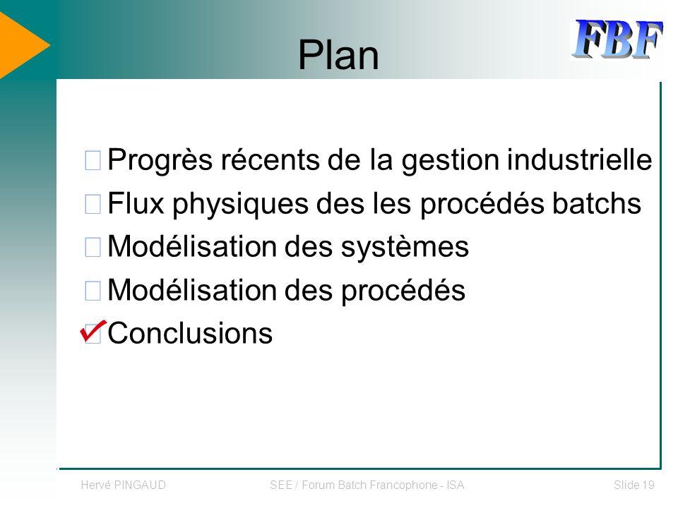 Hervé PINGAUDSEE / Forum Batch Francophone - ISASlide 19 Plan Progrès récents de la gestion industrielle Flux physiques des les procédés batchs Modélisation des systèmes Modélisation des procédés Conclusions