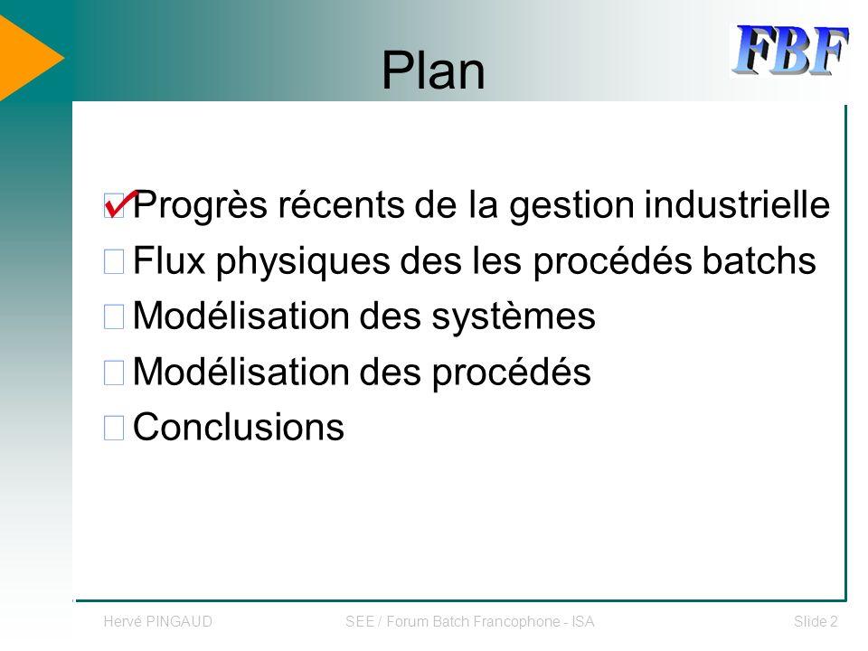 Hervé PINGAUDSEE / Forum Batch Francophone - ISASlide 13 Plan Progrès récents de la gestion industrielle Flux physiques des les procédés batchs Modélisation des systèmes Modélisation des procédés Conclusions