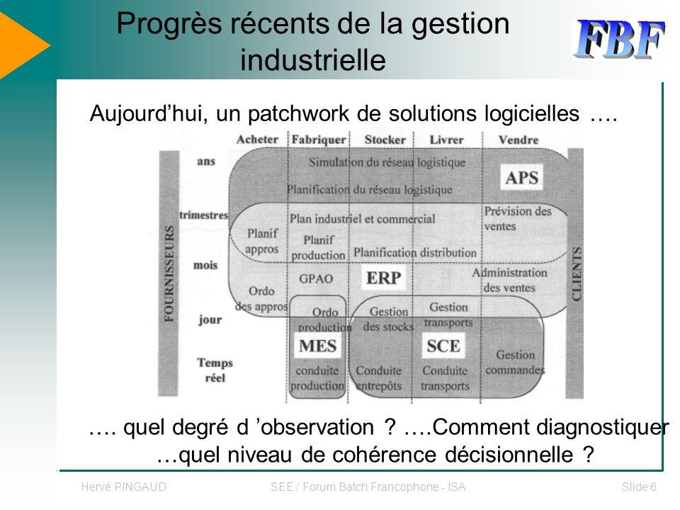 Hervé PINGAUDSEE / Forum Batch Francophone - ISASlide 6 Progrès récents de la gestion industrielle Aujourdhui, un patchwork de solutions logicielles ….