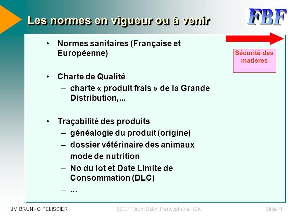 JM BRUN - G PELISSIERSEE / Forum Batch Francophone - ISASlide 10 Les normes en vigueur ou à venir Les procédés agroalimentaires sont à majorité des pr