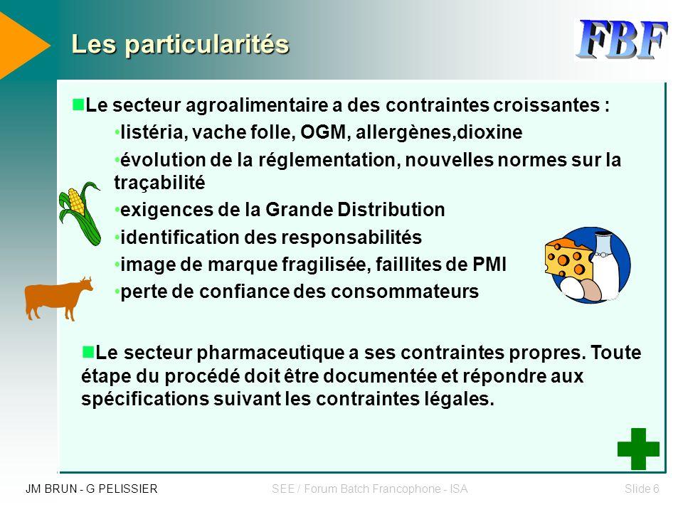 JM BRUN - G PELISSIERSEE / Forum Batch Francophone - ISASlide 16 Intérêt d une méthode (UML) dans le cadre de cette réalisation M.E.S UML est un langage de modélisation objet.