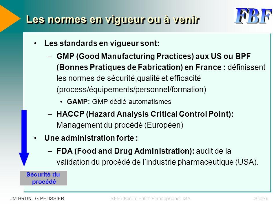 JM BRUN - G PELISSIERSEE / Forum Batch Francophone - ISASlide 8 La traçabilité dans l agroalimentaire et la pharmacie Sécurité du procédé Sécurité des