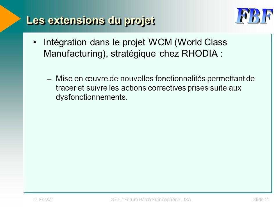 D. FossatSEE / Forum Batch Francophone - ISASlide 11 Les extensions du projet Intégration dans le projet WCM (World Class Manufacturing), stratégique