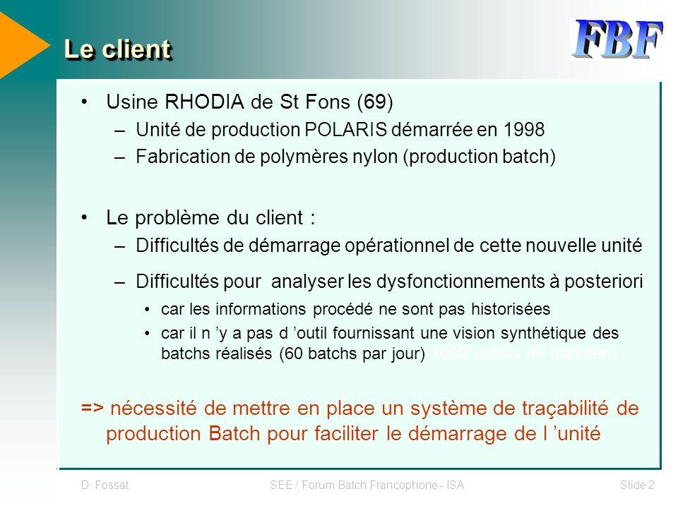 D. FossatSEE / Forum Batch Francophone - ISASlide 2 Le client Usine RHODIA de St Fons (69) –Unité de production POLARIS démarrée en 1998 –Fabrication