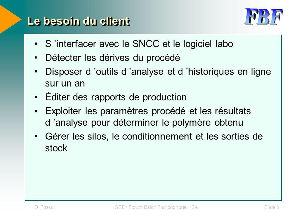 D. FossatSEE / Forum Batch Francophone - ISASlide 3 Le besoin du client S interfacer avec le SNCC et le logiciel labo Détecter les dérives du procédé