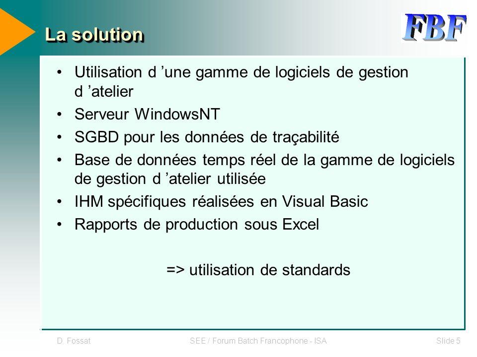 D. FossatSEE / Forum Batch Francophone - ISASlide 5 La solution Utilisation d une gamme de logiciels de gestion d atelier Serveur WindowsNT SGBD pour