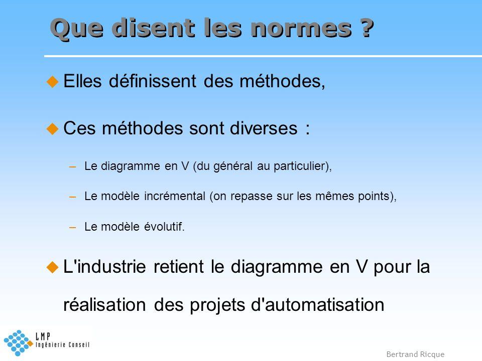 Bertrand Ricque Que disent les normes ? Elles définissent des méthodes, Ces méthodes sont diverses : –Le diagramme en V (du général au particulier), –