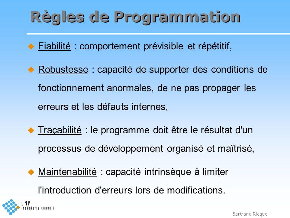 Bertrand Ricque Règles de Programmation Fiabilité : comportement prévisible et répétitif, Robustesse : capacité de supporter des conditions de fonctio