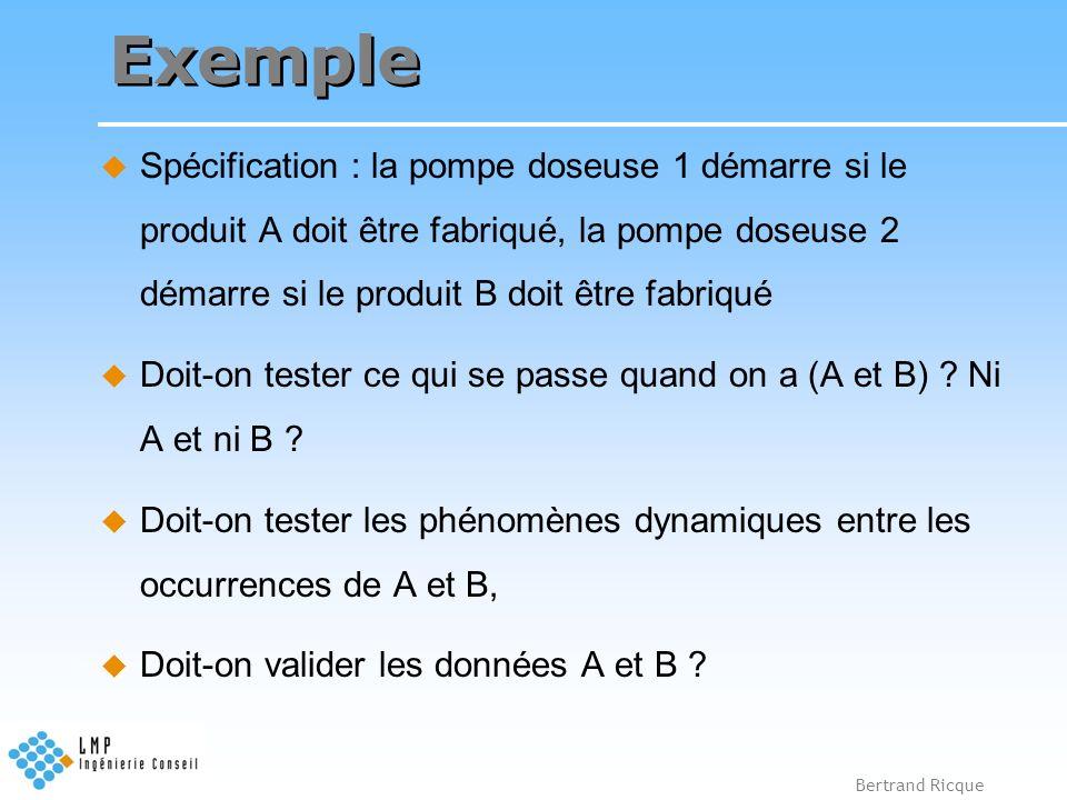 Bertrand Ricque Exemple Spécification : la pompe doseuse 1 démarre si le produit A doit être fabriqué, la pompe doseuse 2 démarre si le produit B doit