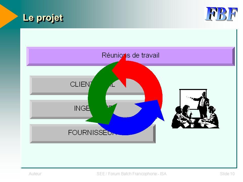 AuteurSEE / Forum Batch Francophone - ISASlide 10 Le projet