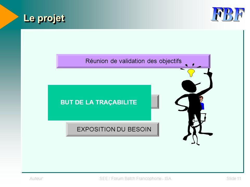 AuteurSEE / Forum Batch Francophone - ISASlide 11 Le projet Réunion de validation des objectifs UTILISATEUR EXPOSITION DU BESOIN BUT DE LA TRAÇABILITE