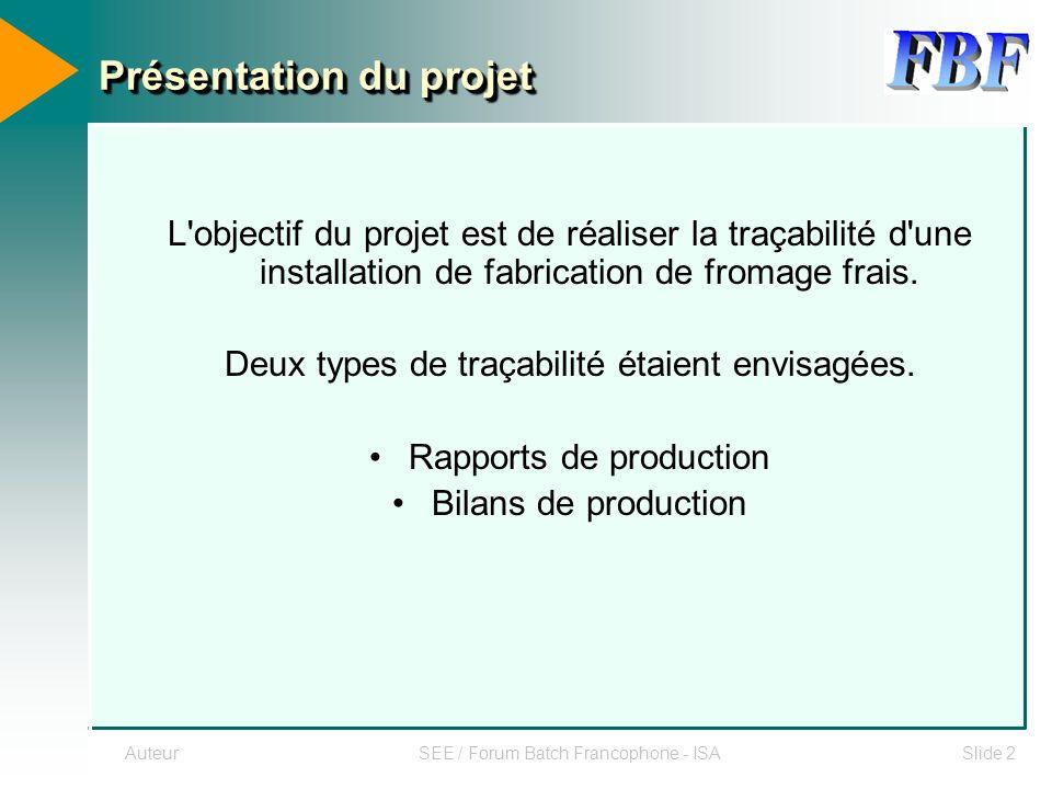 AuteurSEE / Forum Batch Francophone - ISASlide 2 L'objectif du projet est de réaliser la traçabilité d'une installation de fabrication de fromage frai