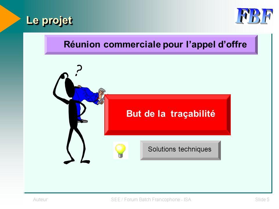 AuteurSEE / Forum Batch Francophone - ISASlide 5 Le projet Réunion commerciale pour lappel doffre Cahier des charges ingénierie Solutions techniques B