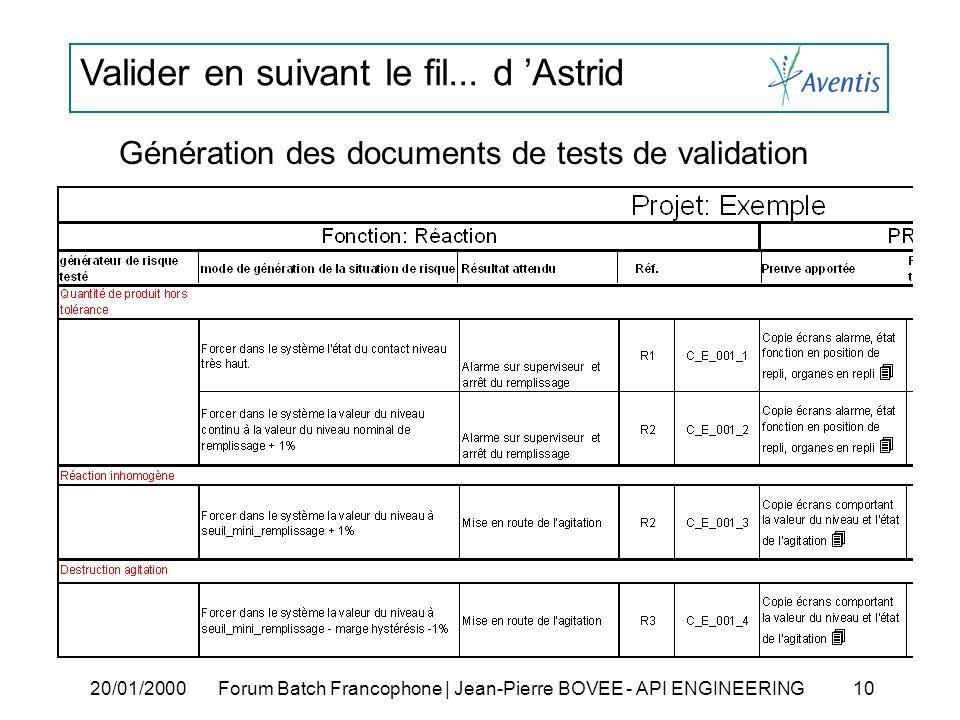 Valider en suivant le fil... d Astrid 20/01/2000Forum Batch Francophone | Jean-Pierre BOVEE - API ENGINEERING 10 Génération des documents de tests de