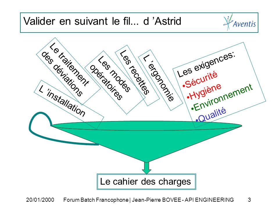 Valider en suivant le fil... d Astrid 20/01/2000Forum Batch Francophone | Jean-Pierre BOVEE - API ENGINEERING 3 Les modes opératoires Les recettes Le