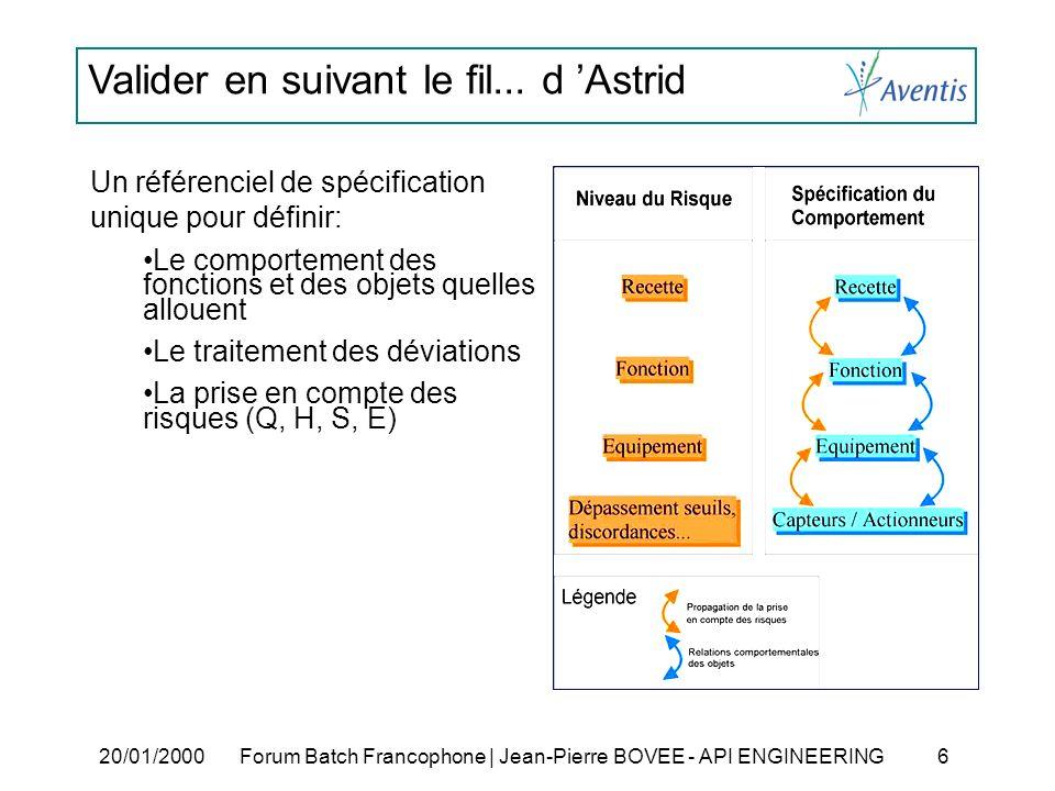 Valider en suivant le fil... d Astrid 20/01/2000Forum Batch Francophone | Jean-Pierre BOVEE - API ENGINEERING 6 Un référenciel de spécification unique