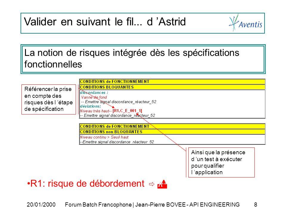 Valider en suivant le fil... d Astrid 20/01/2000Forum Batch Francophone | Jean-Pierre BOVEE - API ENGINEERING 8 Référencer la prise en compte des risq