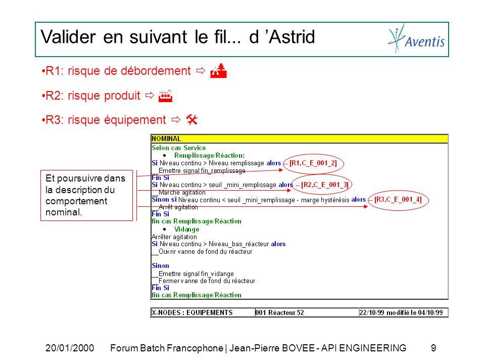 Valider en suivant le fil... d Astrid 20/01/2000Forum Batch Francophone | Jean-Pierre BOVEE - API ENGINEERING 9 Et poursuivre dans la description du c