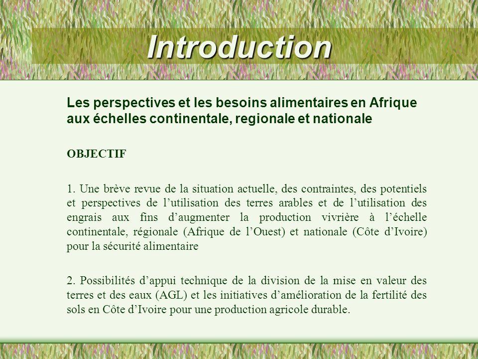Introduction Les perspectives et les besoins alimentaires en Afrique aux échelles continentale, regionale et nationale OBJECTIF 1. Une brève revue de