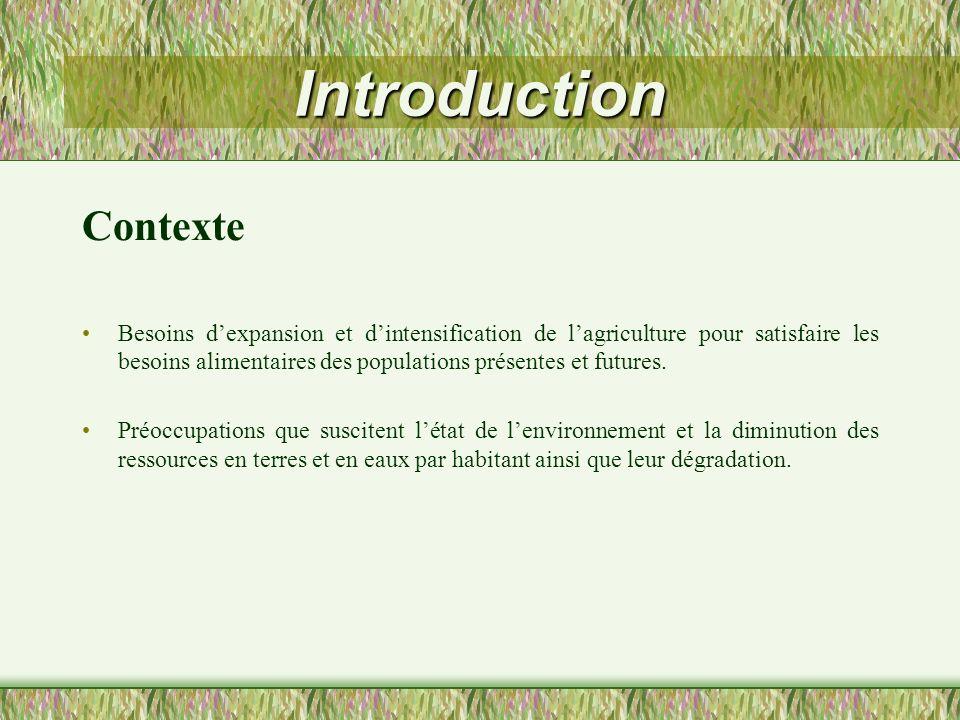 Introduction Contexte Besoins dexpansion et dintensification de lagriculture pour satisfaire les besoins alimentaires des populations présentes et fut