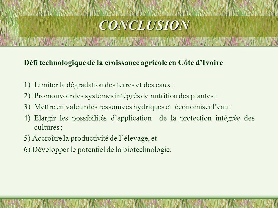 CONCLUSION Défi technologique de la croissance agricole en Côte dIvoire 1) Limiter la dégradation des terres et des eaux ; 2) Promouvoir des systèmes