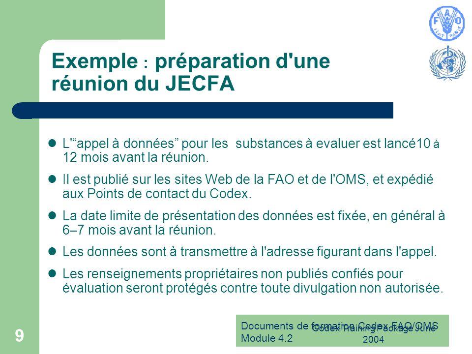 Documents de formation Codex FAO/OMS Module 4.2 Codex Training Package June 2004 10 Exemple : préparation d une réunion de la JMPR L ordre du jour de la réunion est établi par les Secrétariats mixtes de la FAO et de l OMS, en fonction : –de la liste de priorités présentée par le Comité du Codex sur les résidus de pesticides (et approuvée par la Commission); –de la disponibilité de données en quantité suffisante pour mener l évaluation.