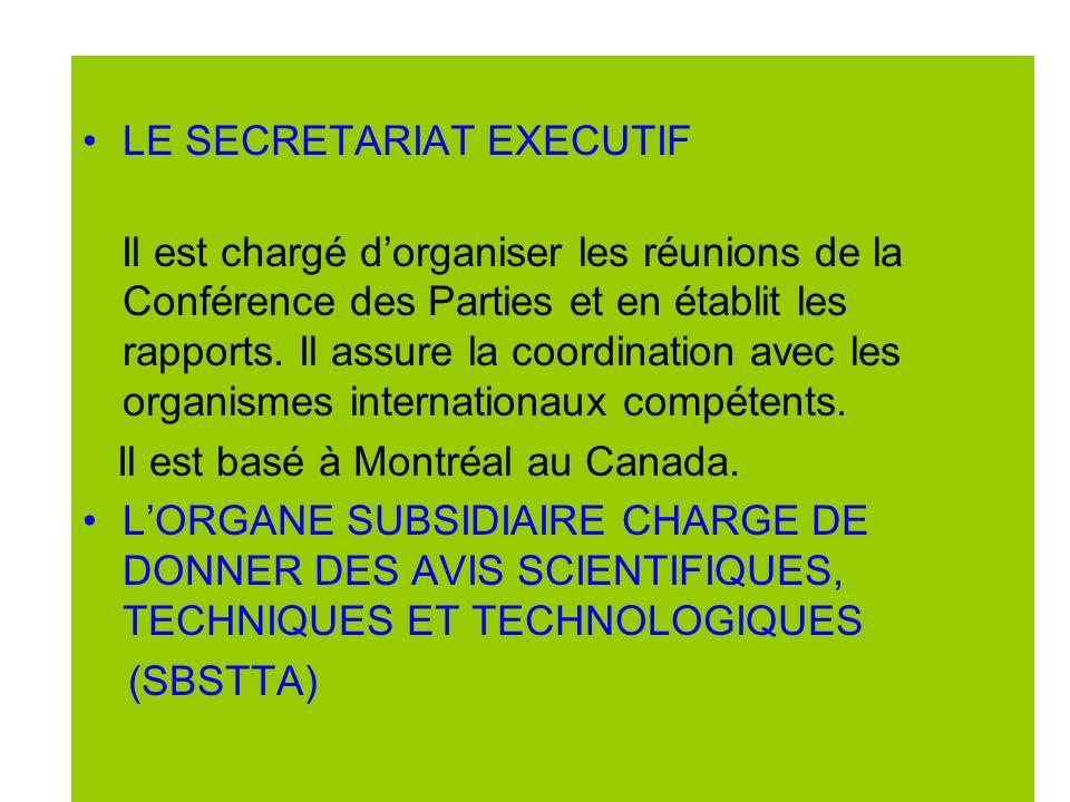 Le SECRETARIAT EXECUTIF LE SECRETARIAT EXECUTIF Il est chargé dorganiser les réunions de la Conférence des Parties et en établit les rapports.