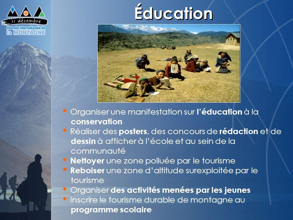Éducation Organiser une manifestation sur léducation à la conservation Réaliser des posters, des concours de rédaction et de dessin à afficher à lécol