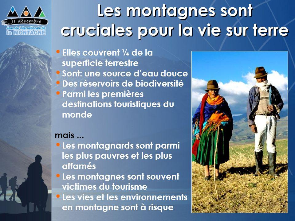 Les montagnes sont cruciales pour la vie sur terre Elles couvrent ¼ de la superficie terrestre Sont: une source deau douce Des réservoirs de biodivers