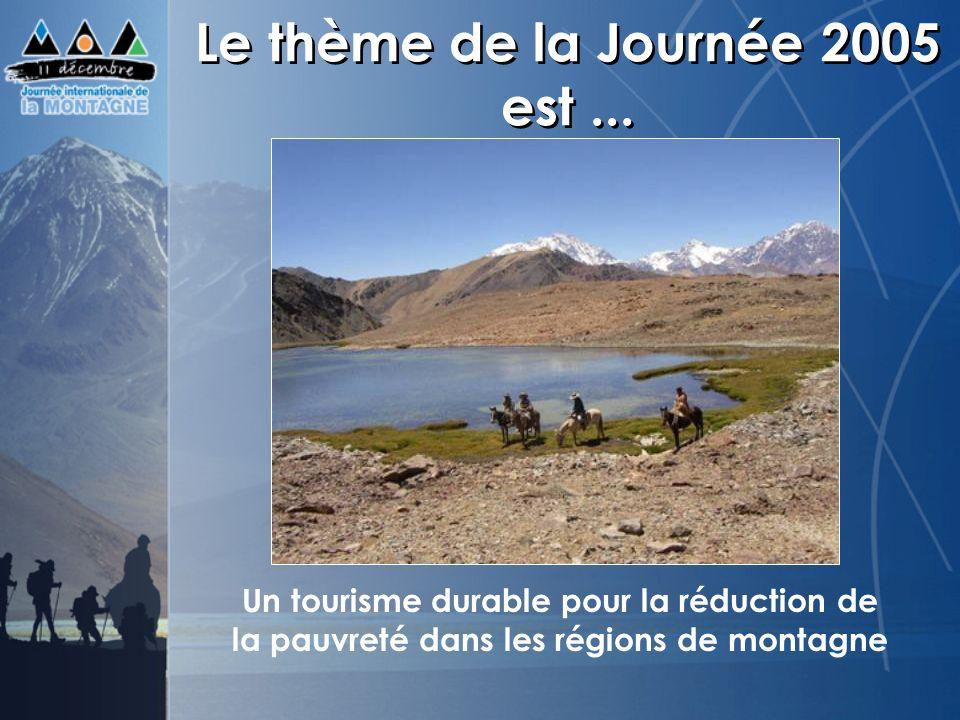 Le thème de la Journée 2005 est... Un tourisme durable pour la réduction de la pauvreté dans les régions de montagne