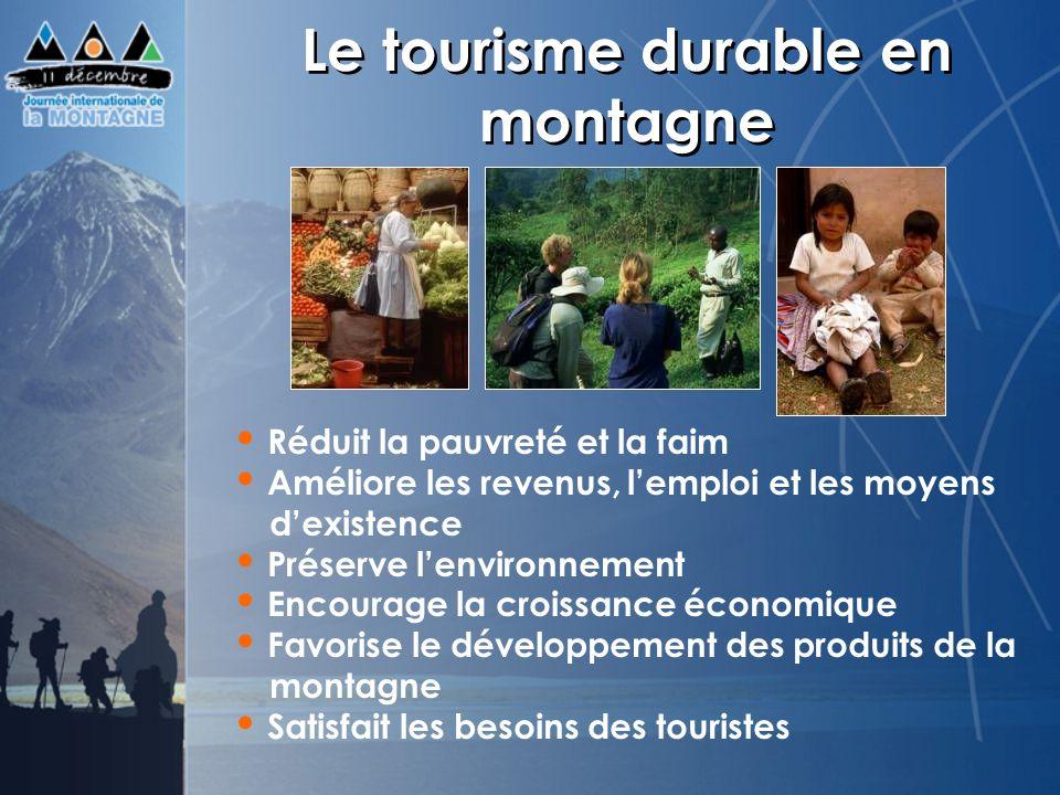 Le tourisme durable en montagne Réduit la pauvreté et la faim Améliore les revenus, lemploi et les moyens dexistence Préserve lenvironnement Encourage