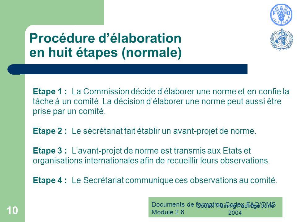 Documents de formation Codex FAO/OMS Module 2.6 Codex Training Package June 2004 10 Procédure délaboration en huit étapes (normale) Etape 1 : La Commi