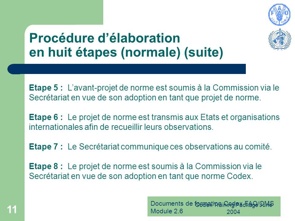 Documents de formation Codex FAO/OMS Module 2.6 Codex Training Package June 2004 11 Procédure délaboration en huit étapes (normale) (suite) Etape 5 :