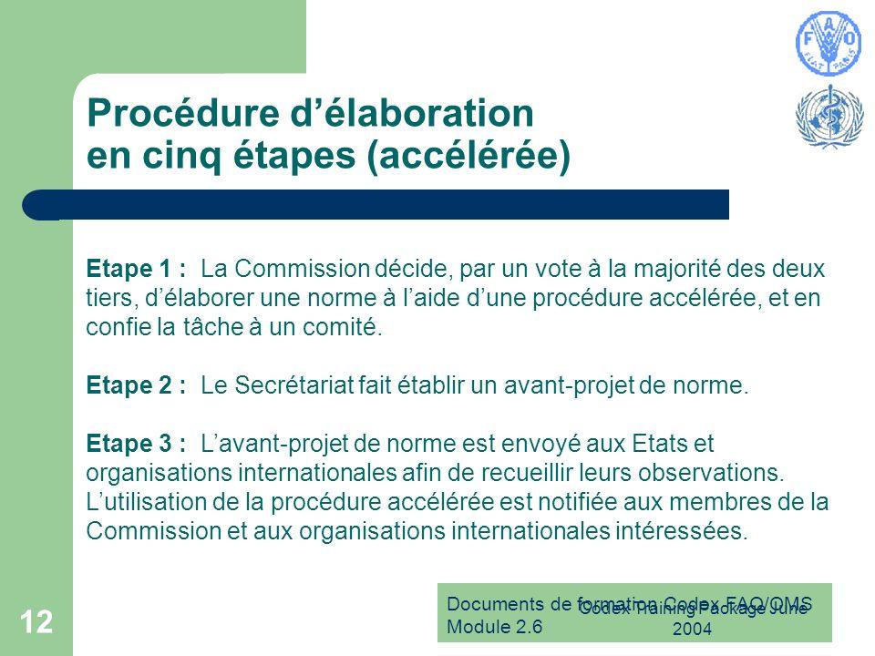 Documents de formation Codex FAO/OMS Module 2.6 Codex Training Package June 2004 12 Procédure délaboration en cinq étapes (accélérée) Etape 1 : La Com