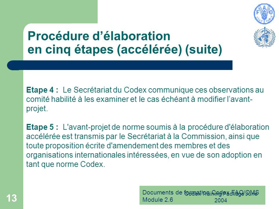 Documents de formation Codex FAO/OMS Module 2.6 Codex Training Package June 2004 13 Procédure délaboration en cinq étapes (accélérée) (suite) Etape 4
