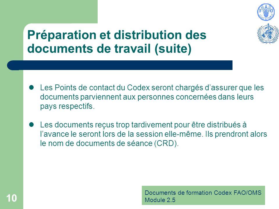 Documents de formation Codex FAO/OMS Module 2.5 10 Préparation et distribution des documents de travail (suite) Les Points de contact du Codex seront chargés dassurer que les documents parviennent aux personnes concernées dans leurs pays respectifs.