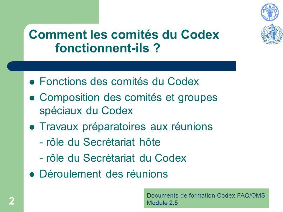 Documents de formation Codex FAO/OMS Module 2.5 2 Comment les comités du Codex fonctionnent-ils .