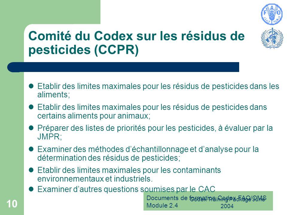 Documents de formation Codex FAO/OMS Module 2.4 Codex Training Package June 2004 10 Comité du Codex sur les résidus de pesticides (CCPR) Etablir des l