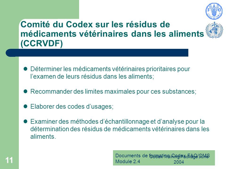 Documents de formation Codex FAO/OMS Module 2.4 Codex Training Package June 2004 11 Comité du Codex sur les résidus de médicaments vétérinaires dans l