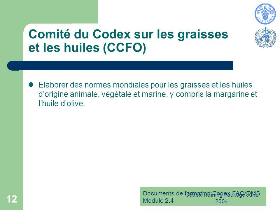 Documents de formation Codex FAO/OMS Module 2.4 Codex Training Package June 2004 12 Comité du Codex sur les graisses et les huiles (CCFO) Elaborer des