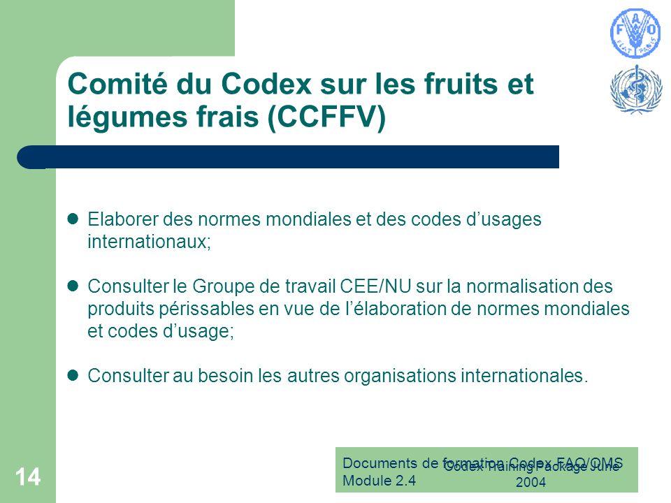 Documents de formation Codex FAO/OMS Module 2.4 Codex Training Package June 2004 14 Comité du Codex sur les fruits et légumes frais (CCFFV) Elaborer d