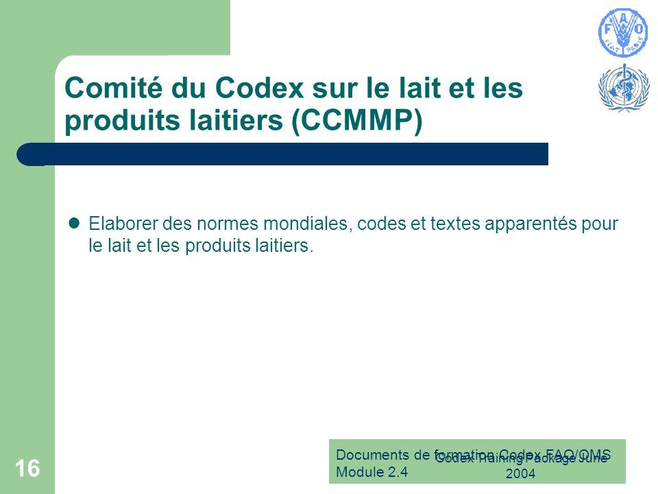 Documents de formation Codex FAO/OMS Module 2.4 Codex Training Package June 2004 16 Comité du Codex sur le lait et les produits laitiers (CCMMP) Elabo