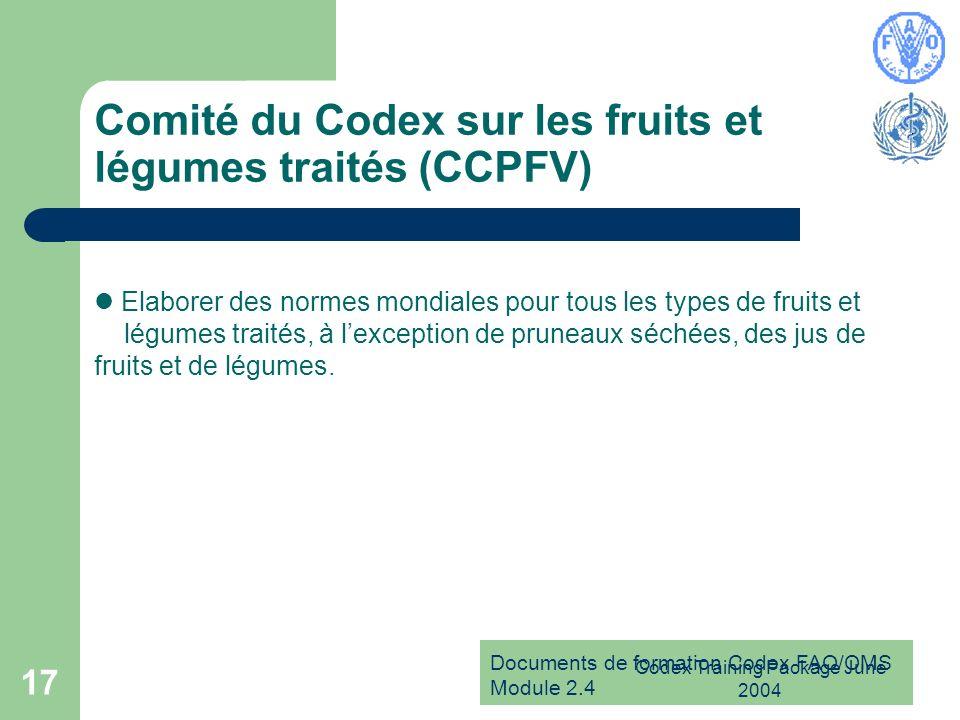 Documents de formation Codex FAO/OMS Module 2.4 Codex Training Package June 2004 17 Comité du Codex sur les fruits et légumes traités (CCPFV) Elaborer