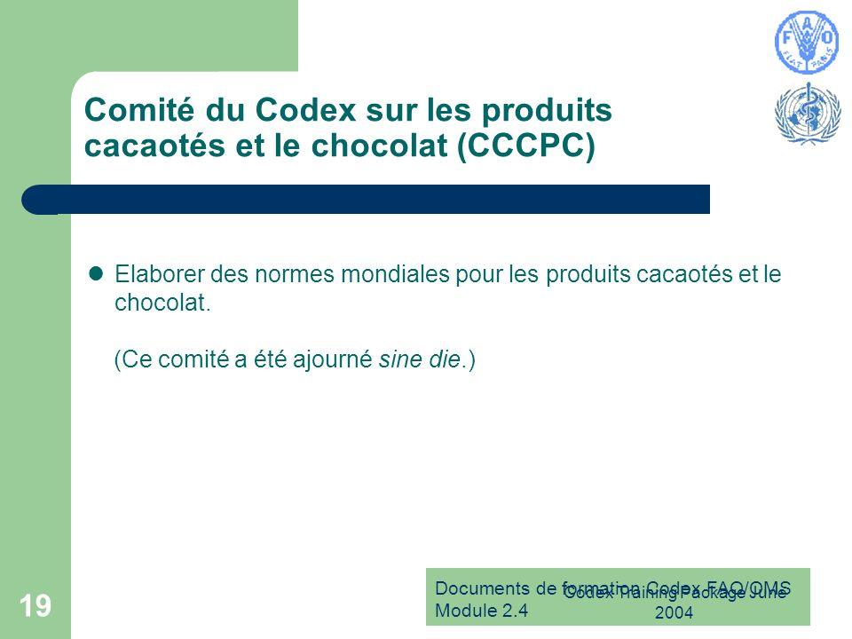 Documents de formation Codex FAO/OMS Module 2.4 Codex Training Package June 2004 19 Comité du Codex sur les produits cacaotés et le chocolat (CCCPC) E
